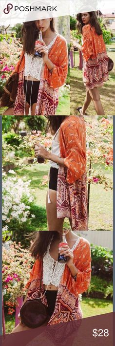 JUST IN 🌻 Printed Boho Kimono Coverup NEW Lovely and light weight chiffon printed kimono coverup in beautiful late summer/early fall color scheme. Tops
