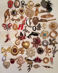 53 Vintage & Modern Brooch Lot Sphinx #Disney Craft Avon #Rhinestone #Animals #Cameo  #vintage #jewelry #ebay #fashion #brooch