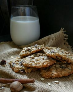 Spiced Brandy Oatmeal Raisin Cookie | Soft and chewy spiced oatmeal cookies, studded with crunchy toasted walnuts and sweet bursts of raisins that have been soaked in brandy