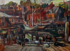"""On the Docks, Gloucester,"" Theresa Bernstein, ca. 1916, oil on board, 14 3/4 x 19 7/8"", James B. Hand Fine Art."