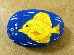 Yellow Fish Painted Rock Tang Fish Fish Art 3D Painting
