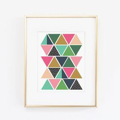 This listing is for one 8.5 x 11 print on 100lb cover card stock. This print features colorful triangles to make this art print. SHIPPING: ships