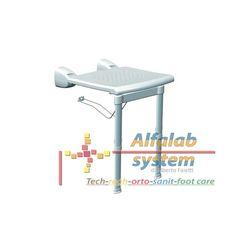 SEDILE DA MURO CON GAMBE - 108,50 € - Codice  PR-WSL-PP-BX - On line: http://alfalabsystem.eu/bagno/149-sedile-da-muro-con-gambe.html - Prodotto Nuovo - Realizzato per rendere piacevole, facile e sicuro fare la doccia. - Sedile ribaltabile con gambe telescopiche per doccia realizzato in tecnopolimeri. - Dimensioni: 42x47x40-55 cm