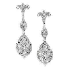Opulent Vintage Inspired CZ Wedding Earrings 3628E - Affordable Elegance Bridal -