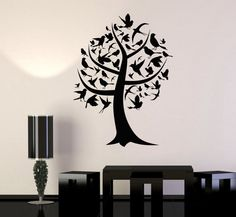Wall Art Mural Tree Branch Nature Birds Guaranteed by BoldArtsy