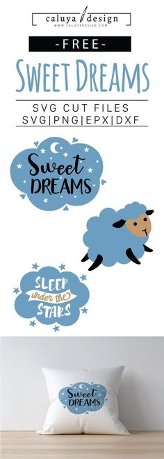 """FREE SVG Cut File Sleep Sheep and quote. """"Sweet Dreams"""" SVG cut file. Printable vector clip art download. Compatible with Cameo Silhouette, Cricut explore and other major cutting machines. 100% for personal use, only $3 for commercial use. Perfect for DIY craft project with Cricut & Cameo Silhouette, card making, scrapbooking, making planner stickers, making vinyl decals, decorating t-shirts with HTV and more! Free SVG, free Dream SVG cut file, free animal free SVG, free sheep SVG cut file"""