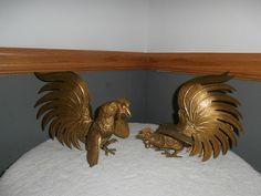 Pair of Vintage Fighting Cocks Metal Brass by OneMoeTimeVintage