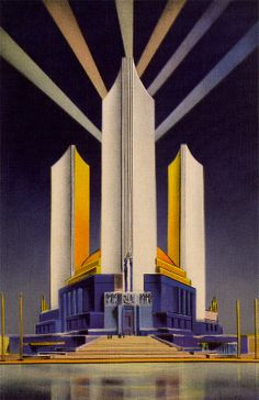 Chicago World's Fair Illinois Vintage Postcard Three Fluted Towers Federal… Art Deco Illustration, 70s Sci Fi Art, Art Deco Buildings, Art Deco Posters, Building Art, Retro Futuristic, Art Deco Furniture, World's Fair, Art Deco Design