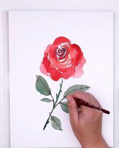 Watercolor Flowers Tutorial, Watercolor Rose, Watercolor Illustration, Watercolor Beginner, Watercolor Paintings For Beginners, Rose Paintings, Rose Art, Arte Floral, Flower Art