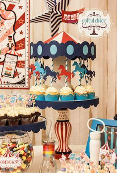Circus Theme Candy Bar Coltul Dulce / Candy Bar / Dessert Table / Sweet Corner www.coltuldulce.ro Más