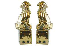 Large Gold Sitting Foo Dogs, Pair on OneKingsLane.com