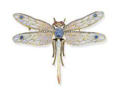 A plique-á-jour enamel, diamond, sapphire and ruby dragonfly brooch.