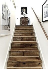 Inspiration to go white GORGEOUS reclaimed barn wood stairs.I love the look of stark white agains a knotted, brown wood in a distressed nature. Post on all different ways to use reclaimed barn wood or recycled wood in your home decor. Style At Home, Staircase Design, Wood Staircase, Rustic Stairs, Rustic Wood, Pallet Stairs, Weathered Wood, Salvaged Wood, Recycled Wood