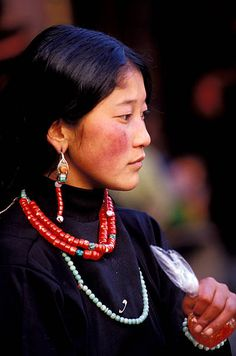 China Tibet Lhasa Jokhang Temple Tibetan Woman Portrait