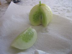 A garden picture of Cucumis sativus 'Crystal Lemon' (Round Cucumber), The first of the round cucumbers to ripen. Taste like normal cucumber but the rind has prickles on it like 5 o-clock shadow Terry says. Garden Mulch, Cucumber Seeds, Garden Pictures, Honeydew, Lemon, Vegetables, Fruit, Yard, Crystal
