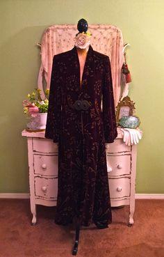 Art Deco Style Velvet Coat, Long Bohemian Jacket, Elegant Formal Coat, Marie Antoinette, Dramatic Gold Painted Wine Duster, EXQUISITE! S/ML by SownThreadsClothing on Etsy