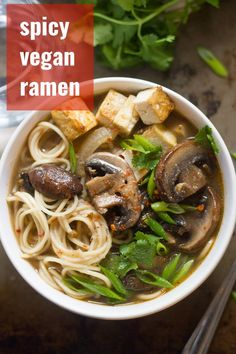 Baby portobello mushrooms are simmered in spicy miso broth and served over slurpable noodles to create this savory vegan mushroom ramen. Tofu Recipes, Delicious Vegan Recipes, Vegetarian Recipes, Cooking Recipes, Healthy Recipes, Vegan Soups, Healthy Food, Vegan Snacks, Cooking Tips