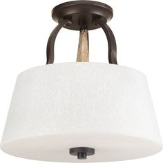 """Progress Lighting P3615 Club 3 Light 14""""W Semi-Flush Ceiling Fixture - Convertib Antique Bronze Indoor Lighting Ceiling Fixtures Semi-Flush"""