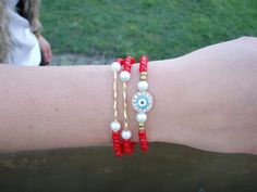 Red and Gold Evil Eye Bracelet Set by CAMyCreations on Etsy, $10