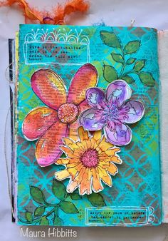 art journal Mauras Musings: Lets Doodle! for Simon Says Stamp with watercolored flowers; Mixed Media Journal, Collage Art Mixed Media, Mixed Media Canvas, Art Journal Pages, Art Pages, Art Journals, Creative Journal, Artist Trading Cards, Art Journal Inspiration