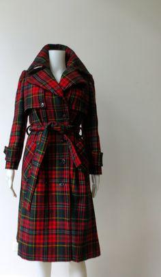 Stunning Vintage 1970s Red Plaid Bonwit Teller Wool Coat