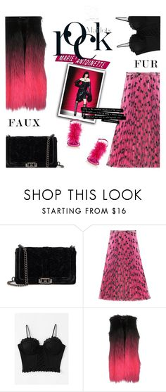 """""""Rock Fur"""" by sound-of-snow ❤ liked on Polyvore featuring Rebecca Minkoff, Gucci, MARCOBOLOGNA, Manolo Blahnik, Pink, rock and fauxfur"""