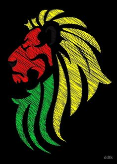 Vector Art and Design by http://keithhoffart.weebly.com - Lion Reggae Colors Cool Flag Vector Art  by ddtk