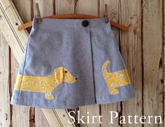 Lexi  Girl's Applique Skirt PDF Sewing Pattern. door RubyJeansCloset