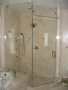 This Glass Shower door has: Neo Angle Shower Steam Shower Frameless Shower Doors Chrome Finish Low-Iron Glass Tubular Handle Hera Style Glass-to-Glass Hinge Glass-to-Glass Clamp Wall Mount Clamp Glass Corner Shower, Corner Shower Doors, Bathroom Shower Doors, Steam Showers Bathroom, Glass Shower Doors, Glass Bathroom, Bathroom Ideas, Master Bathroom, Glass Doors