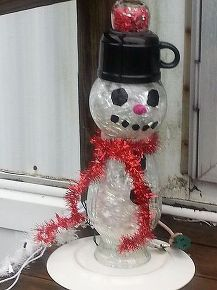 how to make a repurposed glass holiday snowman totem, crafts, repurposing upcycling
