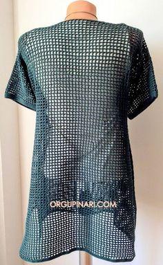 KAFES ÖRGÜ HIRKA - Örgü Pınarı Crochet Lace, Knit Cardigan, Crochet Patterns, Mesh, Knitting, Bikinis, Hair, Fountain, Tops