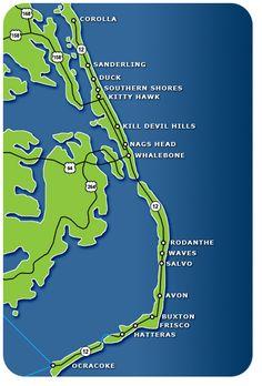 Outer Banks Restaurant map.