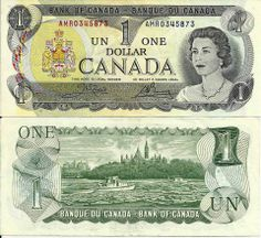 Canada one dollar note last printed in 1989 - good bye to paper, hello to coins Canadian Things, I Am Canadian, Canadian Dollar, Canadian History, Old Coins, Rare Coins, Antique Coins, Money Notes, Dollar Bill Origami