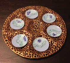 Seder Plate, Large Pierced copper and bronze, with enamel dishes. 15 inches in diameter.