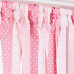 Ribbon CURTAIN for lil girls room! Cut ribbons double the window's length. fold in 1/2, and loop around the curtain rod! MICHEAL'S CRAFT STORE! $10 or less