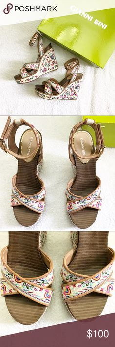 Gianni Bini Embroidered Wedges Floral embroidered canvas.  Never worn. Comes with box.  📍Prices are negotiable.  📍No Trades. 📍No Holds. Gianni Bini Shoes Wedges