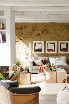 32 magníficas ideas para decorar la pared del sofá Bedroom Table, Living Room Bedroom, Beautiful Houses Interior, Beautiful Homes, Beautiful Interiors, Eclectic Living Room, Living Spaces, Home Decor Styles, Cheap Home Decor