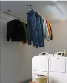 25 Ideas For Laundry Room Organization Drying Rack Hangers Clothes Hanger Rack, Clothes Drying Racks, Hanging Clothes, Clothes Dryer, Drying Rack Laundry, Small Laundry Rooms, Laundry Room Design, Utility Room Designs, Cleaning