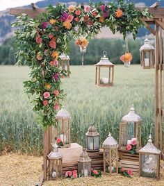 Wedding pergola covered with beautiful florals