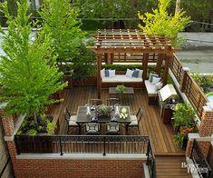 Rooftop Terrace Design, Terrace Garden, Rooftop Gardens, Patio Gardens, Patio Table, Backyard Patio, Dining Table, Garden Table, Outdoor Tables