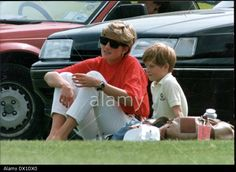 Princess Diana And Prince Harry At Polo Match At Stock Photo