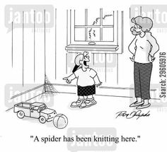 knitter cartoon humor: 'A spider has been knitting here.'
