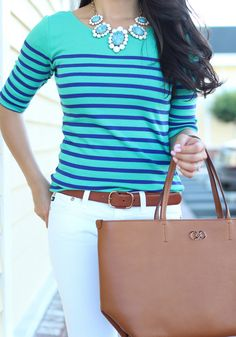 white jeans, colored striped top, statement necklace