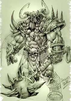 Soldier of Chaos Demon Drawings, Dark Art Drawings, Tattoo Design Drawings, Viking Warrior Tattoos, Totenkopf Tattoo, Fantasy Tattoos, Heavy Metal Art, Japanese Dragon Tattoos, Dragon Pictures