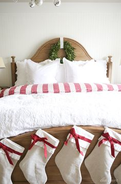christmas bedroom Red and White Christmas Decor, Inspiration, and DIYs as part of the 12 days of Chr Spode Christmas Tree, Cottage Christmas, Country Christmas, Christmas Home, Christmas Lights, Christmas Mantles, Victorian Christmas, Christmas Stockings, Christmas Ornaments