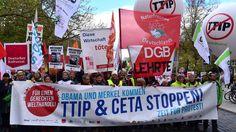 Großdemonstrationen in Deutschland gegen Freihandelsabkommen mit den USA und…