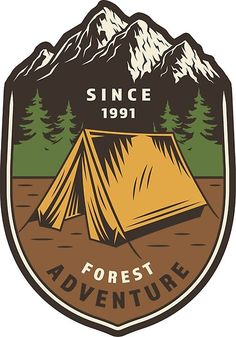 tent camping travel Mountains trees Jungle by TiS NooW Graph Design, Badge Design, Web Design, Logo Design, Wind Logo, Mens Floral Blazer, Camp Logo, Creative Poster Design, Decoupage Vintage