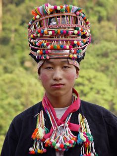 Akha man with traditional headdress, Akha village in Luang Namtha province, Laos, photograph by Kees Sprengers. We Are The World, People Around The World, Around The Worlds, Costume Ethnique, Vietnam, Ethno Design, Laos Thailand, Tribal People, Hmong People
