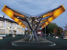 Bus Station in Emsdetten Canopy Architecture, Architecture Details, Landscape Architecture, Landscape Design, Urban Furniture, Street Furniture, Bus Stop Design, Bus Shelters, Shelter Design