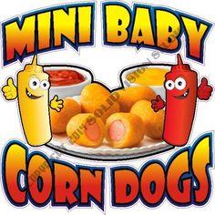 """24"""" Mini Corn Dog Concession Cart Restaurant Hot Fun Food Truck Sign Menu Decal #SolidVisionStudio"""